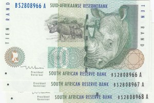 South Africa, 10 Rand, 1999, UNC, p123b, Consecutive serial numbers, total 3 banknotes
