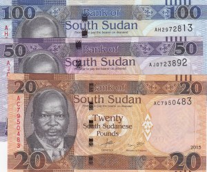 South Sudan,  UNC,  Total 3 banknotes