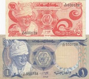 Sudan, 25 Piastres, 1 Pound, 1981, XF, p16a, p18a