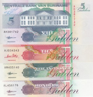 Suriname,  Total 4 banknotes