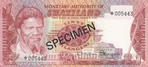 Swaziland, 1 Lilangeni, 1974, UNC, p1s, SPECIMEN