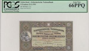 Switzerland, 5 Franken, 1951, UNC, p11o
