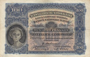 Switzerland, 100 Franken, 1946, VF, p35t