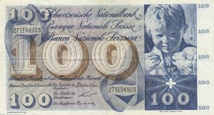Switzerland, 100 Franken, 1961, VF (+), p49d