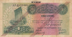 Syria, 1 Livre, 1939, FINE (+), p40b