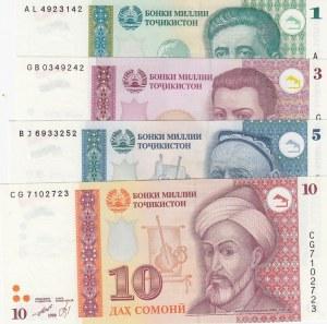 Tajikistan,  Total 4 banknotes