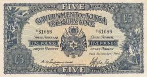 Tonga, 5 Pounds, 1966, XF, p12d