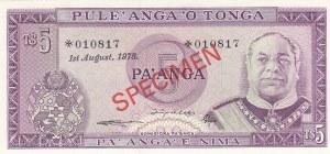 Tonga, 5 Pa'anga, 1978, UNC (-), p21s, SPECIMEN