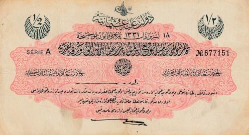 Turkey, Ottoman Empire, 1/2 Livre, 1915, VF, p72,