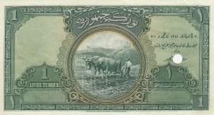 Turkey, 1 Livre, 1927, AUNC, p119, SPECIMEN