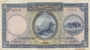 Turkey, 5 Livre, 1927, XF, p120,