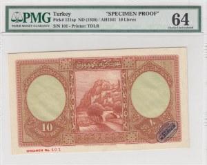Turkey, 10 Livre, 1927, UNC, p121, COLOR TRIAL SPECIMEN, PROOF