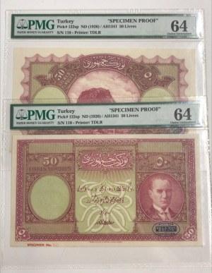 Turkey, 50 Livre, 1927, UNC, p122, COLOR TRIAL SPECIMEN, PROOF, (Total 2 banknotes)