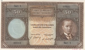 Turkey, 50 Livre, 1927, UNC, p122, SPECIMEN