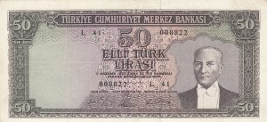 Turkey, 50 Lira, 1964, FINE, p175a,