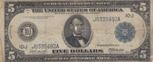United States of America, 5 Dollars, 1914, POOR,
