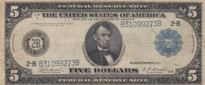United States of America, 5 Dollars, 1914, VF, p359b