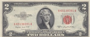 United States of America, 2 Dollars, 1953, XF, p380b