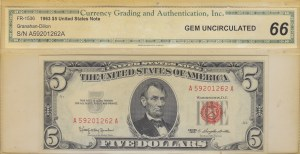 United States of America, 5 Dollars, 1963, UNC, p383