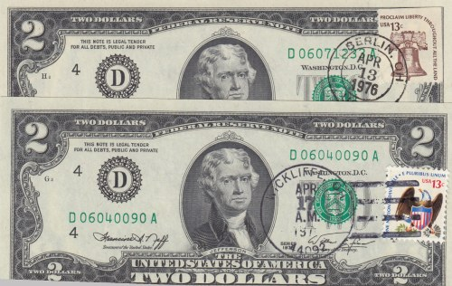 United States of America, 2 Dollars, 1976, UNC, p461, (Total 2 banknotes)