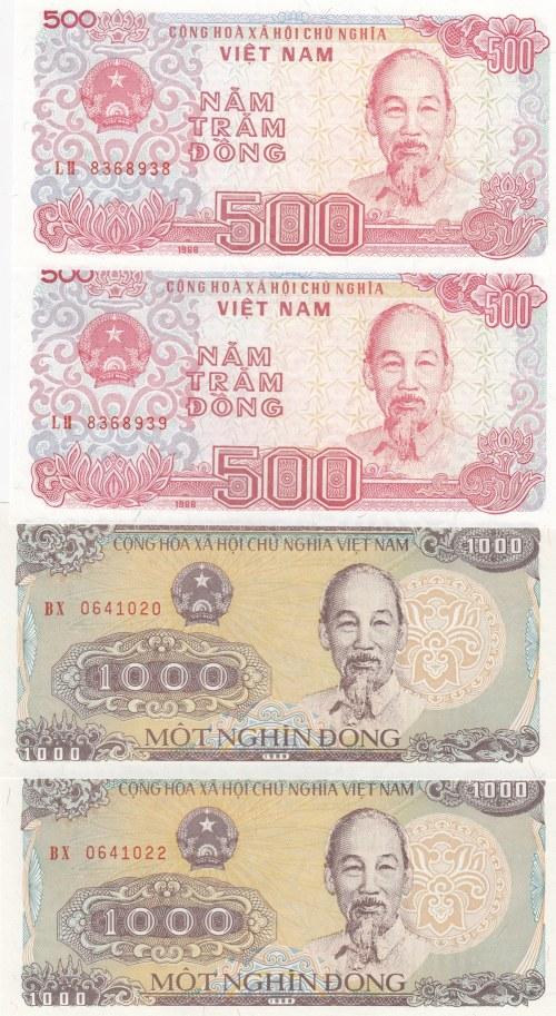 Vietnam,  UNC,  Total 4 banknotes