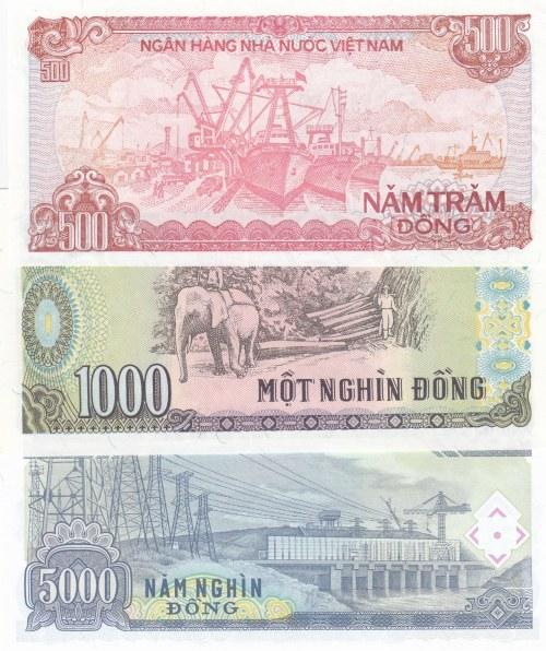 Vietnam,  UNC,  Total 3 banknotes