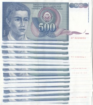 Yugoslavia, 500 Dinara, 1990, Different conditions between AUNC(-) and VF, p106, Total 40 banknotes