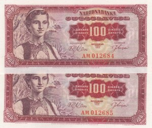 Yugoslavia, 100 Dinara, 1963, UNC, p73, (Total 2 consecutive banknotes)