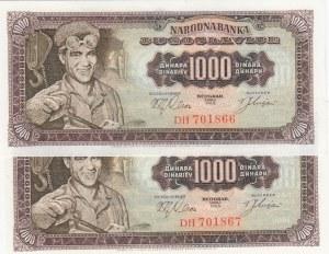 Yugoslavia, 1.000 Dinara, 1963, UNC, p75, (Total 2 consecutive banknotes)