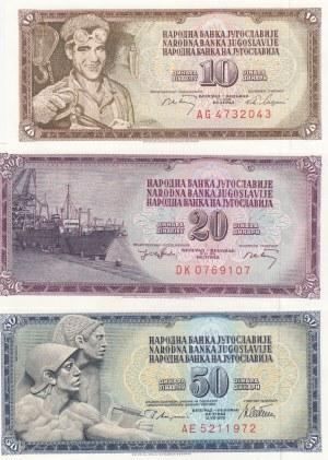 Yugoslavia, 10 Dinara, 20 Dinara, 50 Dinara, 1968/1978, UNC, p82c, p85, p89a