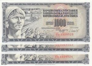 Yugoslavia, 1.000 Dinara, 1981, UNC, p92, Total 3 banknotes