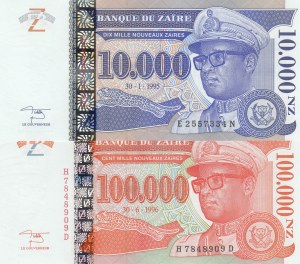 Zaire,  UNC,  Total 2 banknotes