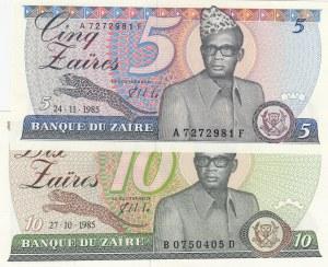 Zaire,  1985, UNC,  total 2 banknotes