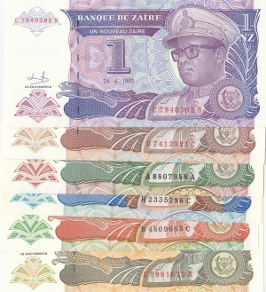 Zaire,  Total 6 banknotes