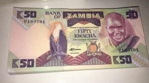 Zambia, 50 Kwacha, 1986/88, UNC, p28a, BUNDLE
