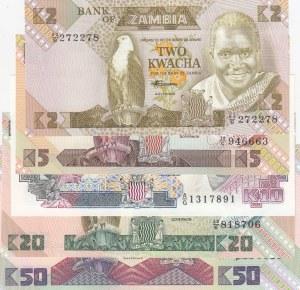 Zambia, 2-5-10-20-50 Kwacha,  UNC, p24-p25-p26-p27-p28, total 5 banknotes