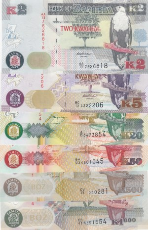 Zambia,  Total 6 banknotes
