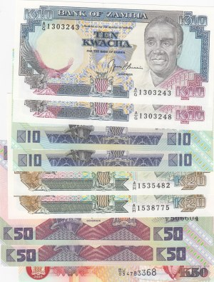 Zambia,  Total 9 banknotes