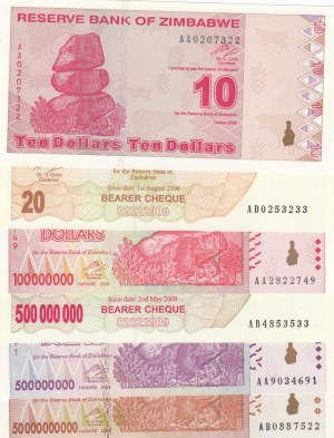 Zimbabwe,  Total 6 banknotes