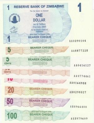 Zimbabwe,  Total 8 banknotes