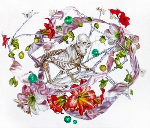 Monika Malewska, Szkielet małpy z kwiatami Amarylisu, z serii Drzewo Życia, 2018