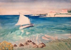 Rafał Malczewski (1892 Kraków - 1965 Montreal), Żaglówka przy brzegu wyspy Rab