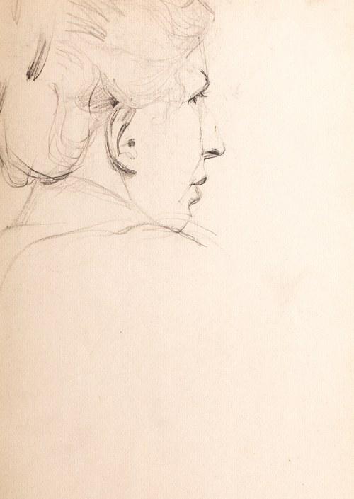 Włodzimierz Tetmajer (1862 Harklowa - 1923 Kraków), Profil kobiecy (praca dwustronna)