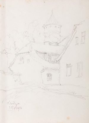 Józef Pieniążek (1888 Pychowice -1953 Kraków), Widok na wieżę zamkową w Olsztynie, 1950 r.