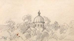 Tadeusz Rybkowski (1848 Kielce – 1926 Lwów), Pejzaż z kopułą, 1921 r.