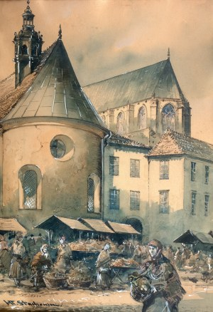 Władysław Chmieliński (1911 Warszawa – 1979 tamże), Dzień targowy na Małym Rynku w Krakowie