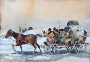 Juliusz Holzmüller (1876 Bolechów – 1932 Lwów), Wyjazd na targ, 1908