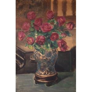 Teodor Grott (1884 Częstochowa - 1972 Kraków), Róże w chińskim wazonie