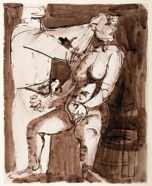 Jankiel Adler (1895 Tuszyn k. Łodzi - 1949 Aldbourne/Anglia), Scena z dwoma postaciami