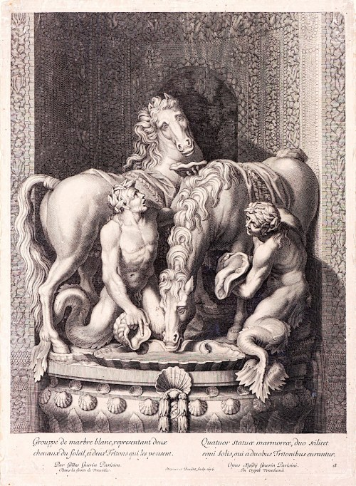 Etienne Baudet - Stephanus (ok. 1638–1711), Konie Apolla pielęgnowane przez dwóch Trytonów, 1676